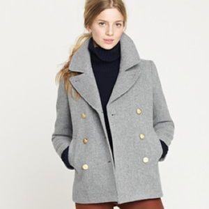 JCrew Sz 2 Grey Wool PeaCoat